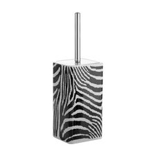 Safari Toilet Brush Holder in Black and White Zebra Print