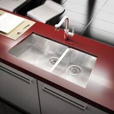 "Trapezoid 34.33"" x 17.5"" Undermount Double Bowl Kitchen Sink"