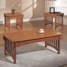 Mission Style 3 Piece Coffee Table Set