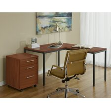Parson Writing Desk with Return and File Cabinet
