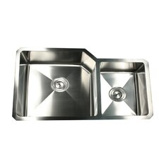 "32"" x 20"" Large Double Offset Bowl Undermount Kitchen Sink"