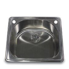 "25"" x 22"" Self Rimming D Bowl Kitchen Sink"