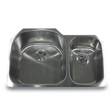"31.5"" x 20.75"" Offset Double Bowl Undermount Kitchen Sink"