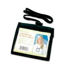 "ID Neck Pouch,Convention,Adjustable 30"" Cord,4""x3"",Black"