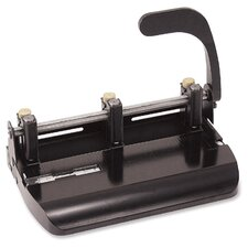 "2-Hole Punch, 2-3/4"" Center Holes, Punches 20 Sheets, Black"
