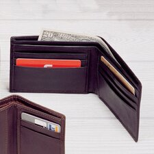 Black Cowhide Nappa Supple Leather Slim Billfold Wallet