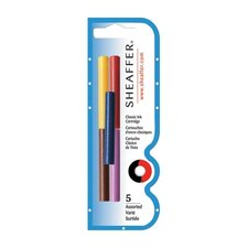 Skrip Ink Cartridges, 5 per Pack, Black/Red/Blue/Green/Purple