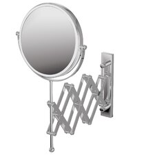 "Mirror Pure 9"" X 9"" Mevedo Make Up Magnifying Mirror Wall Mount Revolving Scissor Style in Polished Chrome"