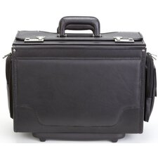 Ultimate Leather Wheeled Catalog Case in Black