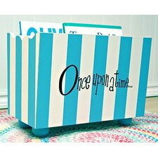"""Once Upon a Time"" Blue Stripe Hand Painted Book Holder"