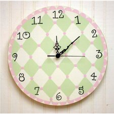 Harlequin Wall Clock in Pink / Green