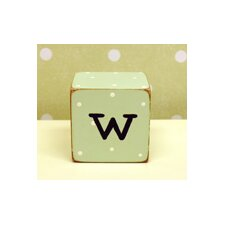 """w"" Letter Block in Green"