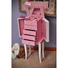 Louisa Girl's Jewelry Armoire in Pink and White