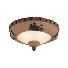 Great Lodge Pine Two Light Bowl Ceiling Fan Light Kit