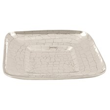 Handmade Decorative Crocodile Skin Square Container in Bright Silver
