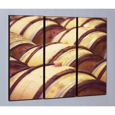 "Three Piece Oak Wine Barrels Laminated Framed Wall Art Set - 36"" x 48"""
