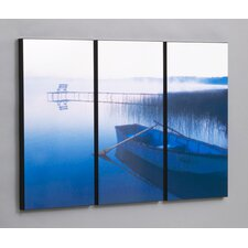 "Three Piece Row Boat in Tranquility Laminated Framed Wall Art Set - 30"" x 47"""