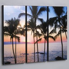 "Three Piece Puerto Vallarta Sunset Laminated Framed Wall Art Set - 36"" x 48"""