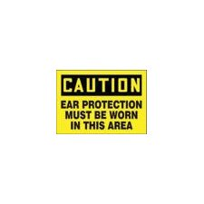"X 14"" Black And Yellow Adhesive Vinyl Value™ Hearing Protection Sign Caution Ear Protection Must Be Worn In This Area"