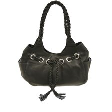 Ladies Braided Hobo Bag in Black