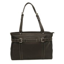 Ladies Belted Computer Tote in Chocolate