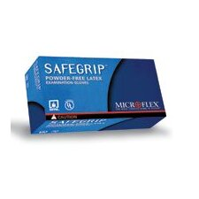 "Blue 11.8"" SafeGrip® 11.4 mil Premium quality natural rubber Latex Ambidextrous Non-Sterile Powder-Free Disposable Gloves With Textured Finger Tip Finish And Extended, Beaded Cuffs (50 Each Per Box)"
