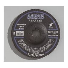 "1/2"" X 1/4"" X 7/8"" A24R Aluminum Oxide Type 27 Depressed Center Grinding Wheel For Use With Right Angle Grinder On Steel And Metal"