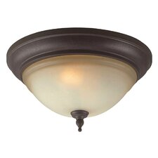 Fluorescent 2 Light Flush Mount