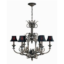 Sophisticated Iron 6 Light  Chandelier