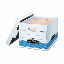 Quick/Stor Lock Lid File Box, Letter/Legal, 12 x 15-1/4 x 10-1/4, WE/BE, 12/Ctn