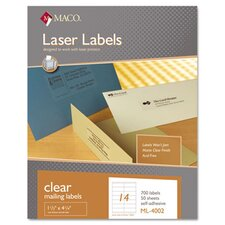 Matte Clear Laser Labels, 1 1/3 x 4 1/4, 700/Box
