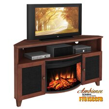 "Shaker Style Corner 61"" TV Stand with Curved Electric Fireplace"