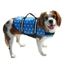 Designer Dog Life Jacket in Blue Polka Dot