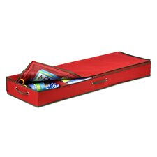 Canvas Gift Wrap Organizer in Red and Pine Green