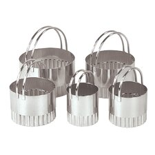Five Piece Fluted Round Cookie Cutter Set