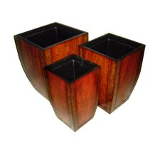 Three Piece Wooden Curved Tapered Square Planter Set in Reddish Brown