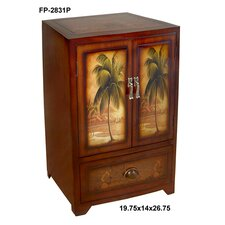 Wooden Palm Tree Print 2 Door / Drawer Cabinet