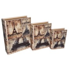 Eiffel Collage Book Box (Set of 3)
