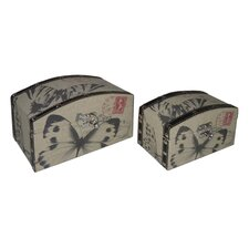 Butterfly Print Round Top Box (Set of 2)