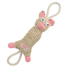 Jute and Rope Plush Pig Dog Toy