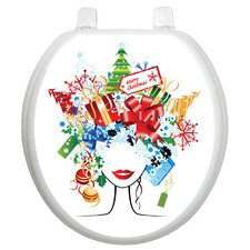 Holiday Christmas Lady Toilet Seat Decal