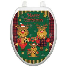 Holiday Reindeer Family Toilet Seat Decal