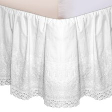 """Hike Up Your Skirt"" Embroidered Bedskirt in White"