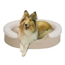 Tan Faux Suede Oval Cuddler Pet Bed with Ivory Microberber