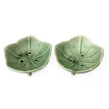 Lotus Pond Putu Oka Mahendra Artisan Ceramic Soap Dishes (Set of 2)