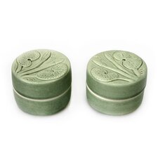 Putu Oka Mahendra Artisan Lotus and Dragonfly Ceramic Jewelry Boxes (Set of 2)