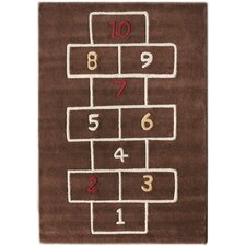 KinderLOOM Hopscotch Brown Kids Rug