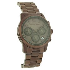 Women's Runway Stainless Steel Watch with Brown Chronograph Dial