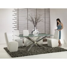 Ritz 6 Piece Dining Set with Crackle Glass