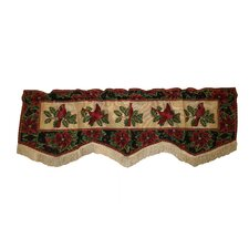 Seasonal Cardinal Design Rod Pocket Scalloped Curtain Valance